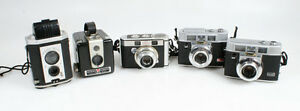 KODAK CAMERA COLLECTION FOR DISPLAY OR PARTS, LOT OF 5