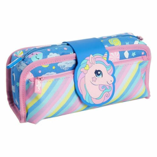 Smiggle Unicorn Pencil Case Deja Vu Soft Pocket Organiser Blue Opens Up Girl