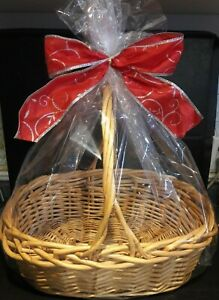 Image is loading 2-Clear-LARGE-BASKET-BAGS-24X30-Cellophane-for-