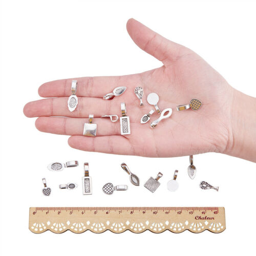 200Pcs Tibetan Style Alloy Glue-on Flat Pad Bails for Jewelry Pendants Making