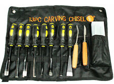 13 Pc Wood Carving Set Hand Tools Chisel Kit 13 Piece Carvers In Cloth Pouch