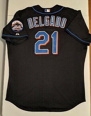 competitive price bd9ec b6312 GAME USED WORN Majestic CARLOS DELGADO NEW YORK METS Jersey Blue Jays  Steiner | eBay