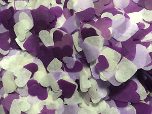 Biodegradable-Confetti-Purple-Wedding-Decorations-Hearts-Ivory-Lilac-Dark-Purple