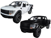2011 Ford F-150 Svt Raptor Matt Black & White 2 Trucks Set 1/24 Jada 96867 Set