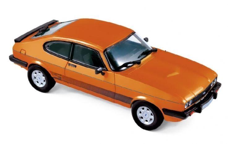 NOREV 270563 FORD CAPRI 3.0 S Mk.3 diecast model road car Orange body 1986 1 43