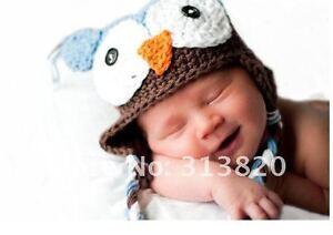 Baby Kids Boys Girls Warm Knit beanie Brown headband parrot owl hat Cap Prop