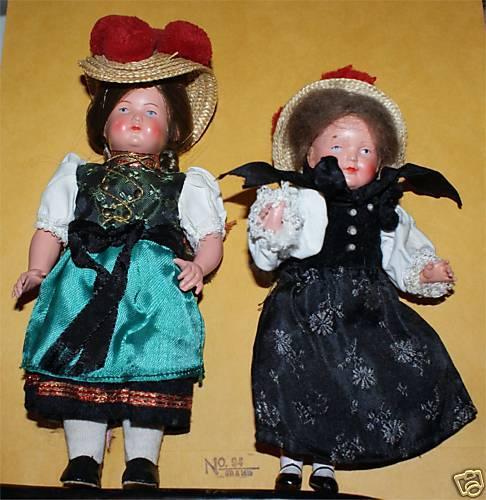 2 Raras adorable Celuloide Muñecas Alemanas Vestidos Pequeños