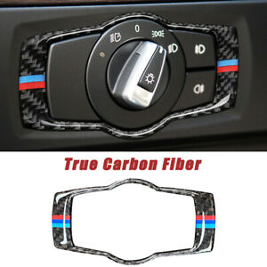 For-BMW-3-Series-E90-E90-Carbon-Fiber-Headlight-Switch-Button-Frame-Cover-Trim