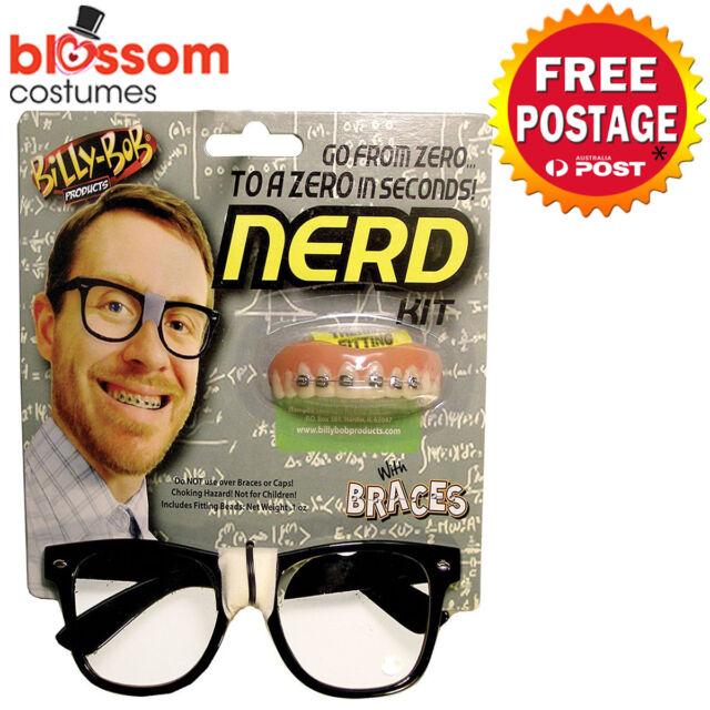 AS237 Billy Bob Nerd Costume Glasses Braces Geek School Boy 50s Accessories Kit