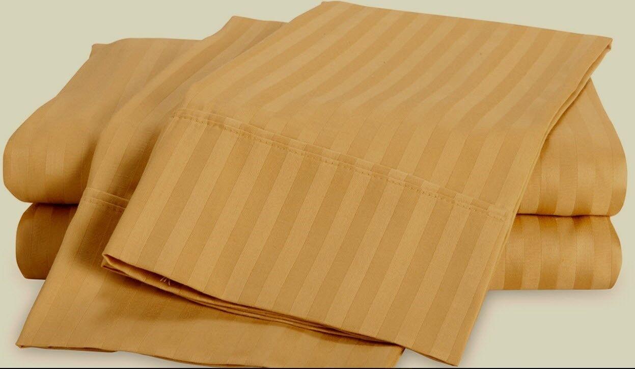 Luxor Shadow Stripe 100% Egyptian Cotton Sheet Set 650TC  King  Gold NEW