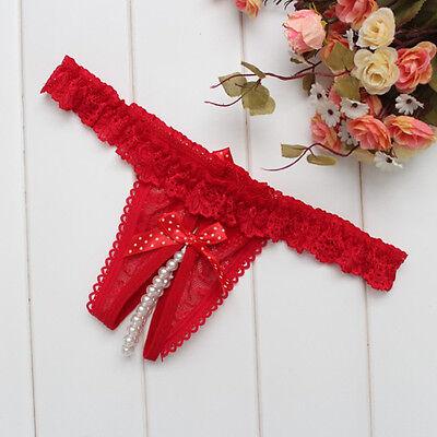 Lenceria de Mujer, V-String tanga con perlas estimuladoras, rojo. #690 Tangas