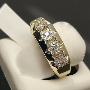 White Sapphires Band Ring 18k 2 Tone Gold Plate Size 7 12 Unisex Gift Love Friendship Vintage Celtic Estate Ring