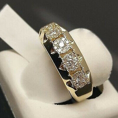 2pcs//set Fashion White Gold Filled White Sapphire Ring Set Wedding Women Jewelry
