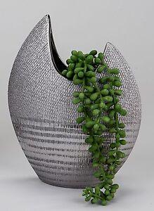 Deco-Moderne-Vase-Vase-a-fleurs-en-ceramique-en-argent-hauteur-30-cm