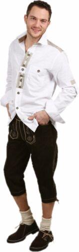 Alla Moda TRACHTEN Camicia Tempo Libero Camicia con Maniche arrotolato Camicia Oktoberfest Bianco