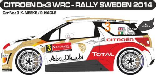 MEEKE DECALS 1//43 CITROËN DS3 WRC #3 RALLYE DE SUEDE 2014 MF-ZONE D43282