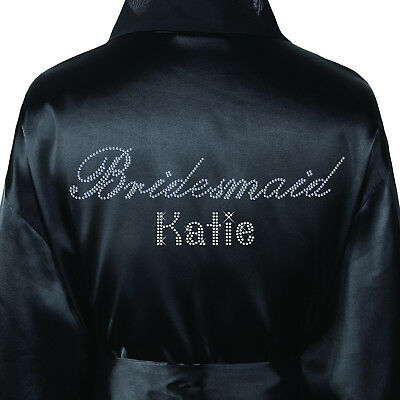 Genossenschaft 1personalised Bridesmaid Diamante Luxury Satin Robe Wedding Kimono Dressing Gown Phantasie Farben