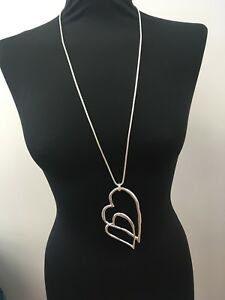 Extra-Large-Silver-Lagenlook-Slanted-Double-Love-Heart-Long-Necklace-Pendant