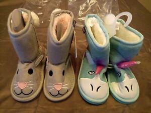 Lot-of-2-Pairs-Muk-Luks-Zoo-Babies-Booties-Size-10-GallyHo