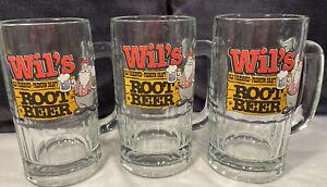 "(3) Rare Vintage Wil's Old Fashioned Premium Draft Root Beer mug. 6""Tall 12 Oz"