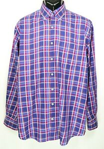 Peter Millar Men's Size L Purple Plaid Long Sleeve Button Down Shirt