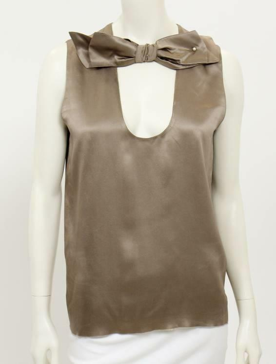 Beautiful Designer LANVIN Ladies Satin Taupe Sleeveless Top 40