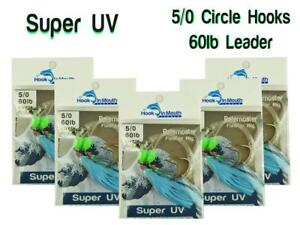 5-Super-UV-Blue-Snapper-Rigs-Fishing-Rig-Paternoster-60lb-Leader-5-0-Circle-Hook