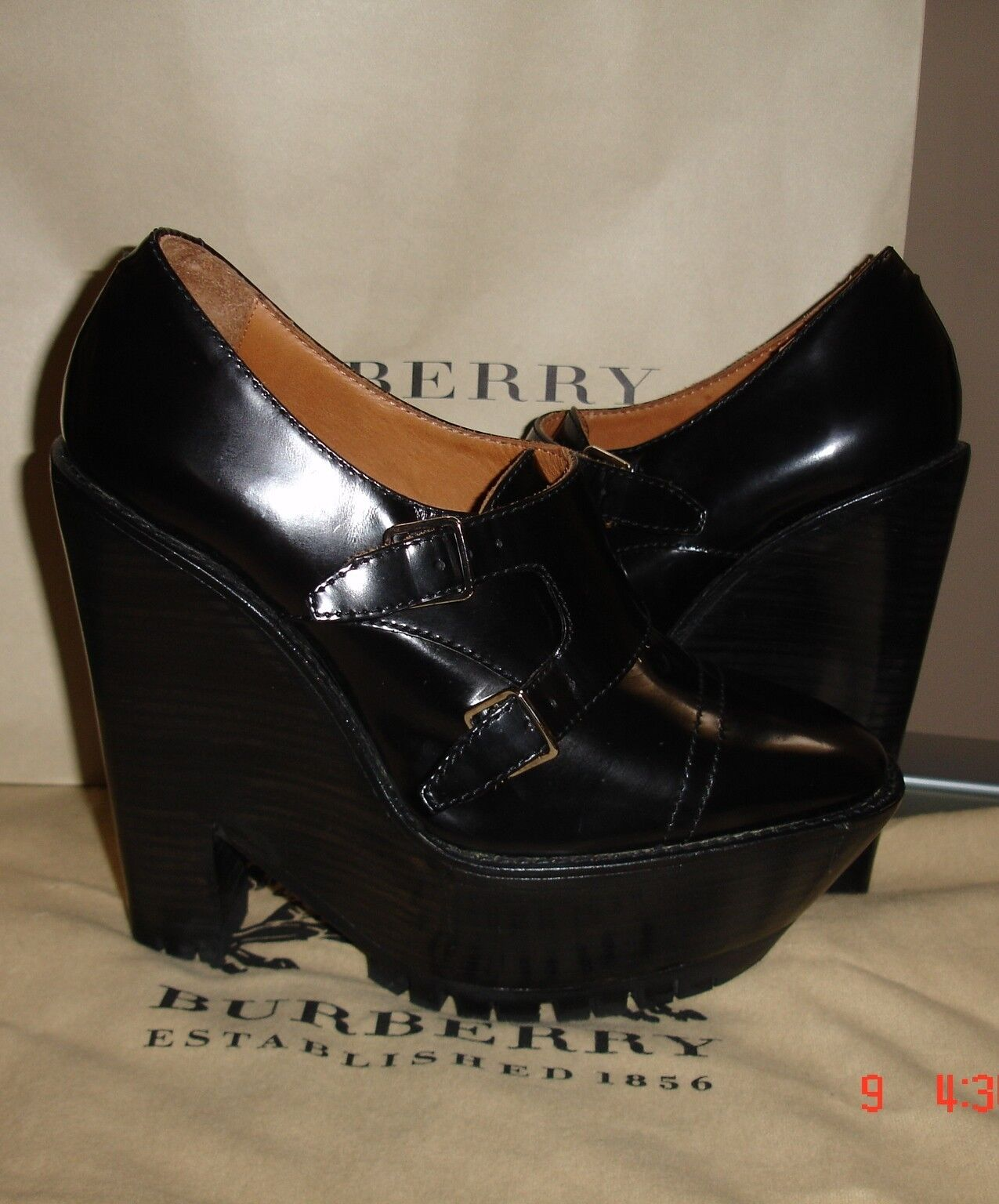 BURBERRY PRORSUM  LEATHER RACING WEDGE BLACK PLATFORM PUMP SHOES 40.5  895