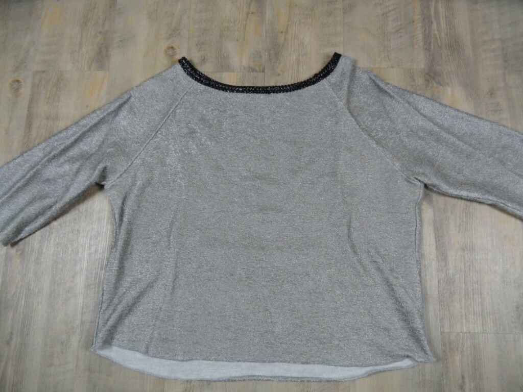 TWO blueE SISTERS Made in  cooles Oversized Sweat silver Gr. S TOP SJ1117