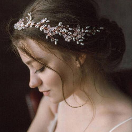Women Bride Wedding Crystal Rhinestone Pearl Hair Band Flower Headband Decor US