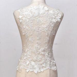 Large-Wedding-Dress-Back-Wide-Lace-Applique-Floral-Embroidered-Motif-Trim-50CM