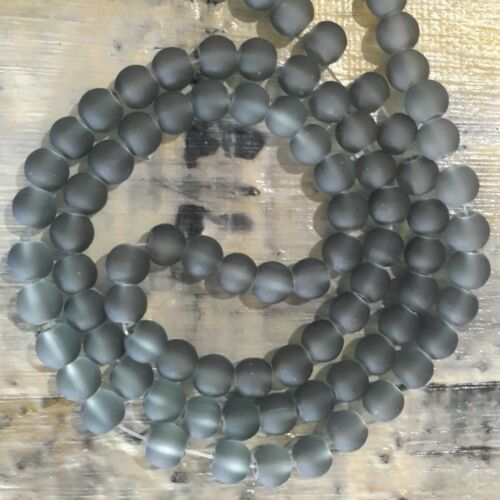 Slate Grey Frosted Glass Beads 6mm Approx 140 pce  Free Postage Oz Seller
