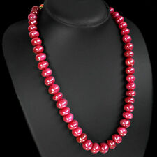 TOP QUALITY SPARKLING 511.00 CTS NATURAL RED RUBY ROUND BEADS NECKLACE PAYPAL
