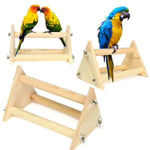 Wooden Parrot Bird Perch Stand Top Rack Play Funny Toys for Conure Cockatiels