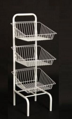 3 Tier White Stacking Baskets Dump Bin Display Retail Sweets Cakes Fruit & Veg
