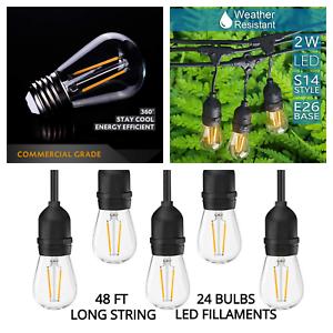 LED 48Ft Waterproof String Lights Commercial Grade Patio Lights US