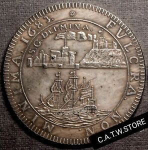 1683-Netherlands-Holland-West-India-Ship-Sailboat-Medal-Silver-Plated-Replica