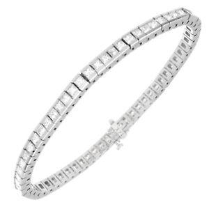 1b95420b23622 Details about 3 Carat Princess Cut Diamond Ladies Tennis Bracelet 14k Gold