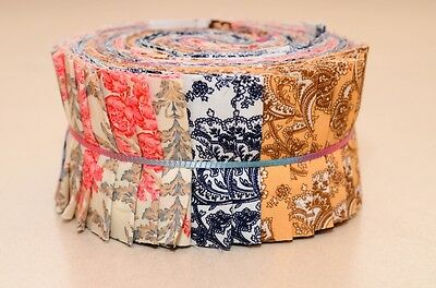 "Quilt Jelly Roll Fabric 20 Strips 2.5x44""  Retro French Floral Elegant"