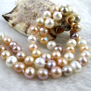 "50/"" 7-9 mm café Baroque FRESHWATER PEARL NECKLACE PEARL Jewelry"