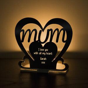 Image Is Loading Personalised Mum Heart Mirror Tea Light Holder Birthday