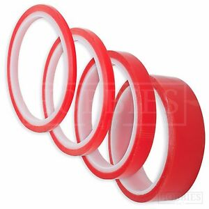 Double Sided Super Sticky Clear Tape Red Strong 5m Craft DIY Roll 3 6 12 25mm