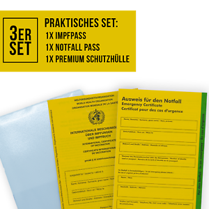SECO Impfpass  3er Set 1X Impfausweis 1X Notfallausweis, 1X Schutzhülle