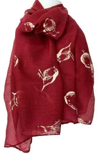 Robin Scarf Ladies Red Gold Foil Robins Bird Print Birds Wrap Fun Shawl