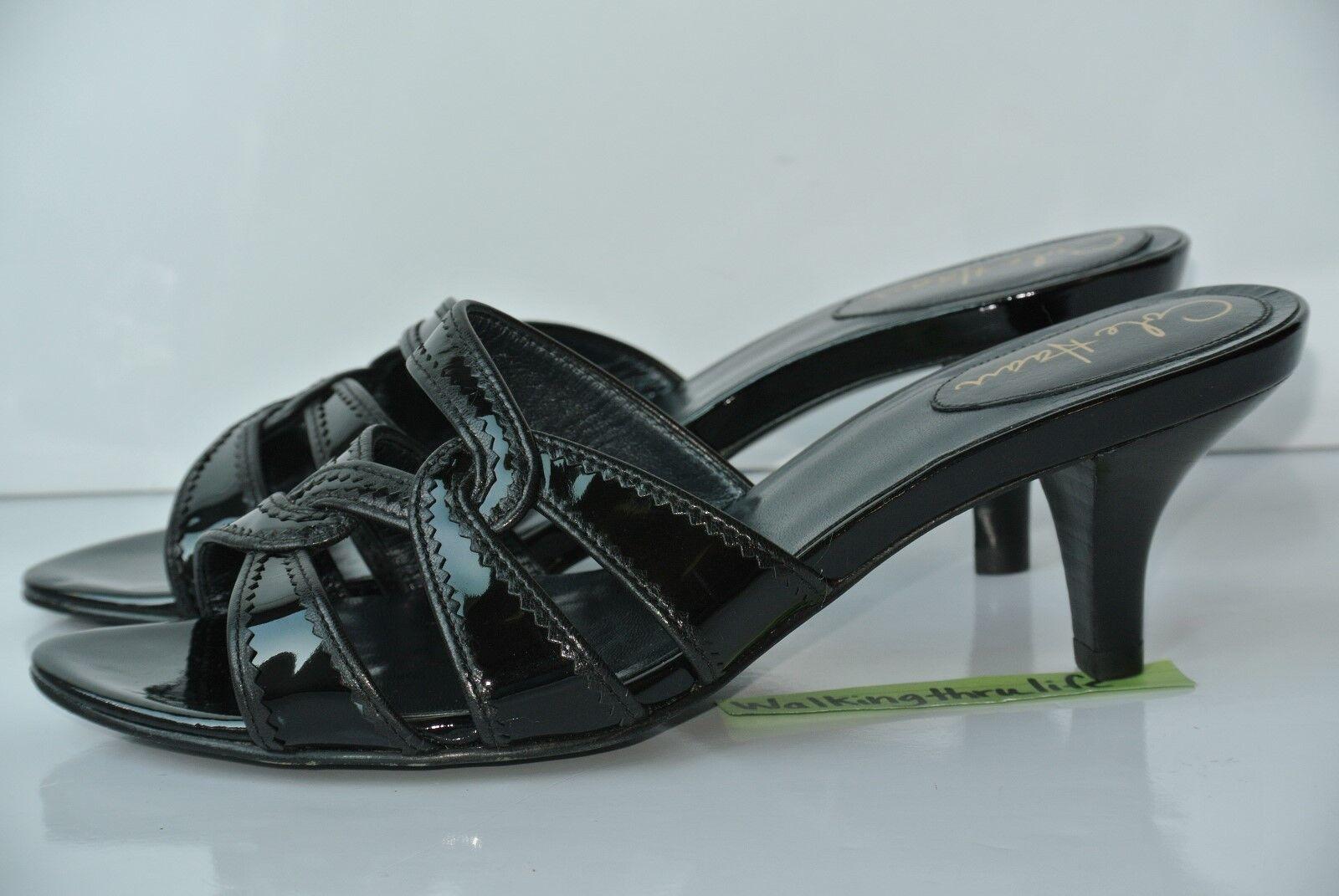 Cole Haan Black Womens Sz 7.5 B Black Haan Patent Leather Sandals Heels NICE!! 3ed5dd