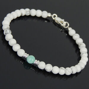 Amazonite-White-Howlite-Sterling-Silver-Bracelet-Mens-Women-Clasp-DIY-KAREN-564