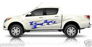 2-x-Blue-Wicked-Tribal-Flames-Decals-Sticker-Car-Boat-Caravan-or-Horse-Float-etc