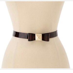 Kate Spade New York Women's Leather Tortoise Pyramid Bow Belt Sz. M Medium NWT