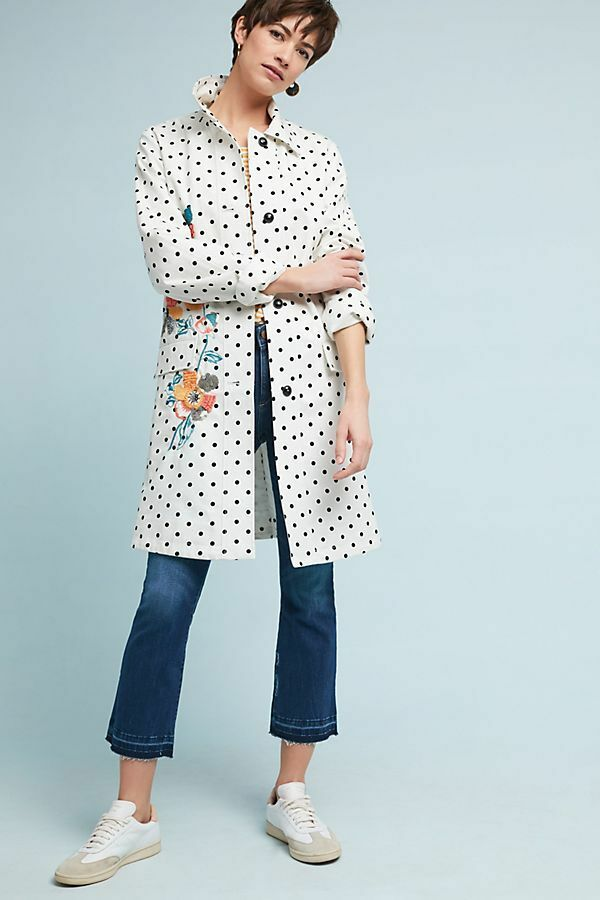 NWT NEW Anthropologie Embellished Polka Dot Peacoat Size XS