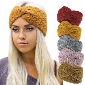 Femmes-elastique-crochet-tricot-laine-oreille-Warmer-Cross-Serre-tete-Bandeau-hairband